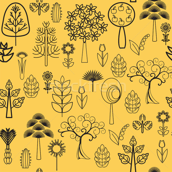 plants, flowers and Trees with black line on white background  v Stock photo © Margolana