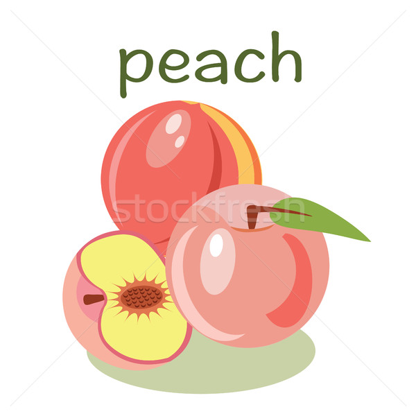 Vector peach isolated  fruit vector illustration Stock photo © Margolana