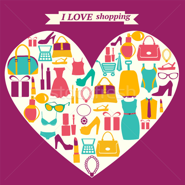colorful shopping icons in heart shape. I love shopping Stock photo © Margolana