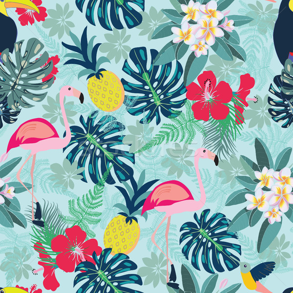 Decorative pattern with flamingo, pineapple, toucan and monstera Stock photo © Margolana
