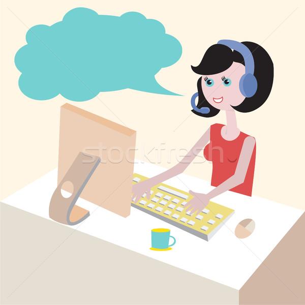 Technische ondersteuning telefoon vrouw hoofdtelefoon ontwerp illustratie Stockfoto © Margolana