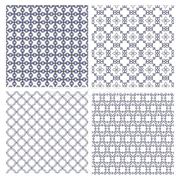 set of geometric monochrome line patterns Stock photo © Margolana