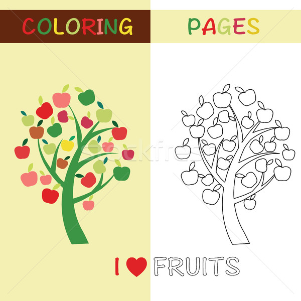 Apple tree for kids with colorful Apple tree Stock photo © Margolana