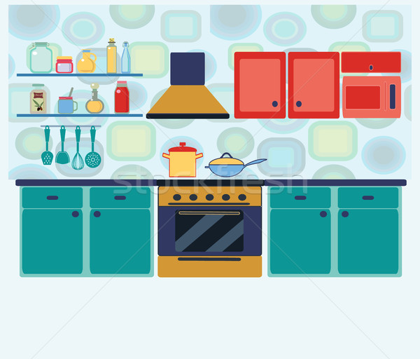 interior kitchen with cooking equipment Stock photo © Margolana