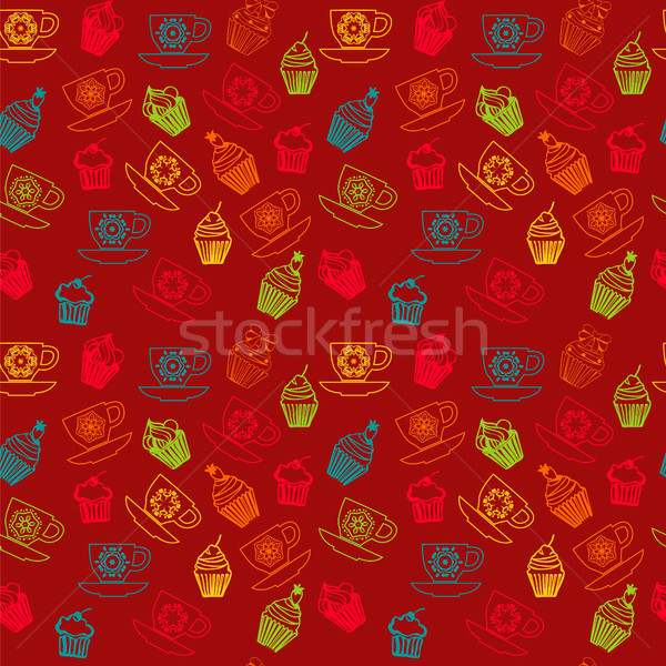 cups with cupcakes Hand drawn outlined colorful seamless pattern Stock photo © Margolana