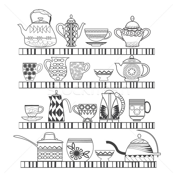 collection with a tea pot, tea cup, jars, jugs on the shelves Stock photo © Margolana