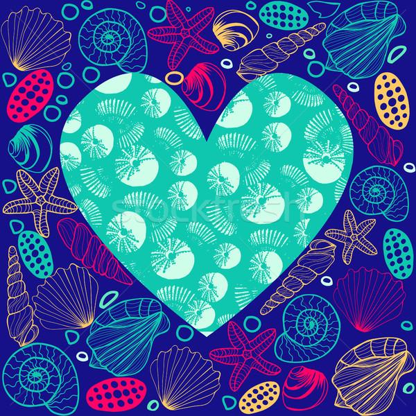 Hand drawn Seashell border frame and copy space heart shape  Stock photo © Margolana