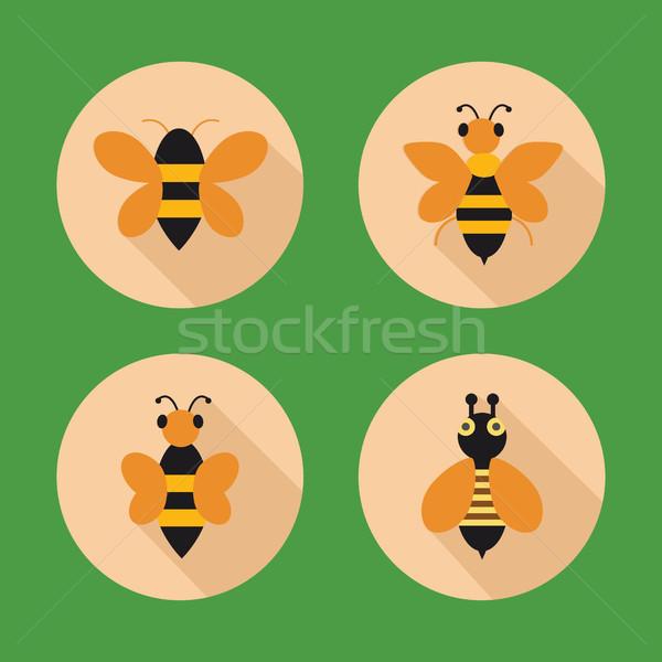 Bal arılar simgeler stil daire düğmeler Stok fotoğraf © Margolana
