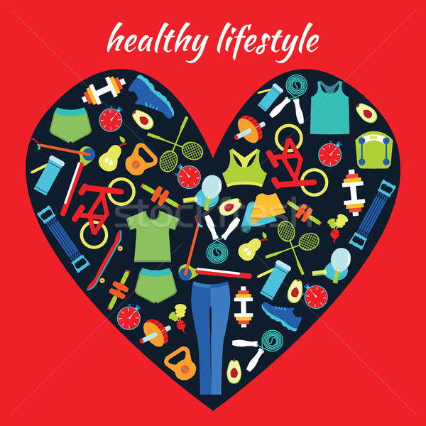 Stock photo: Healthy Lifestyle Background in heart shape.