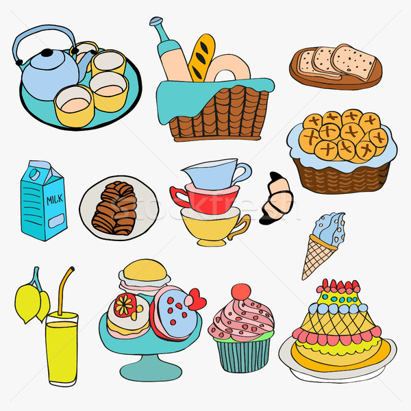 Different kind of food and dessert doodle style  Stock photo © Margolana
