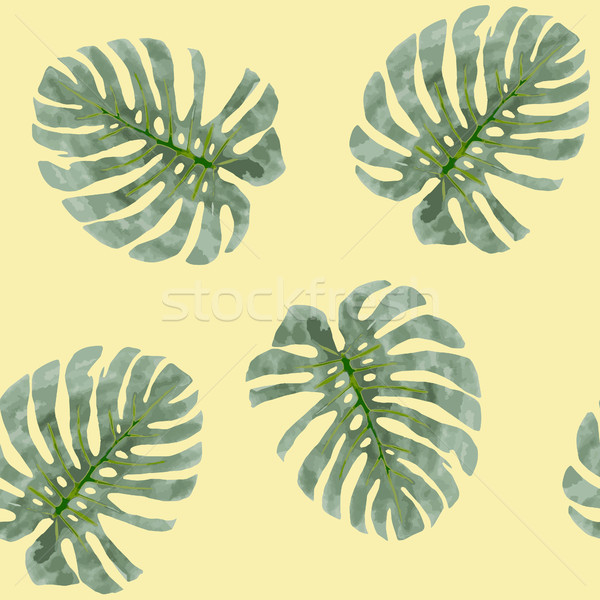 watercolor background tropical plants monstera leaves Stock photo © Margolana