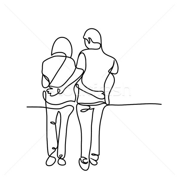 徒歩 一緒に ベクトル 行 図面 ストックフォト © Margolana