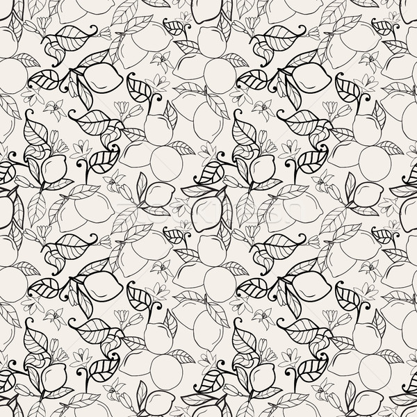Lemons with leaves seamless pattern Stock photo © Margolana