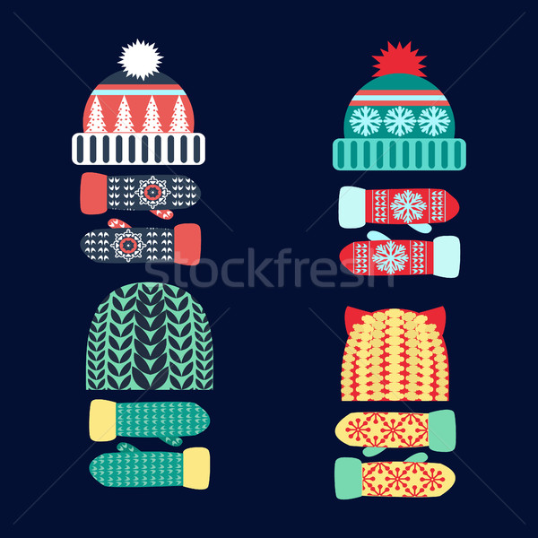 Collectie gebreid wollen hoed wanten ingesteld Stockfoto © Margolana