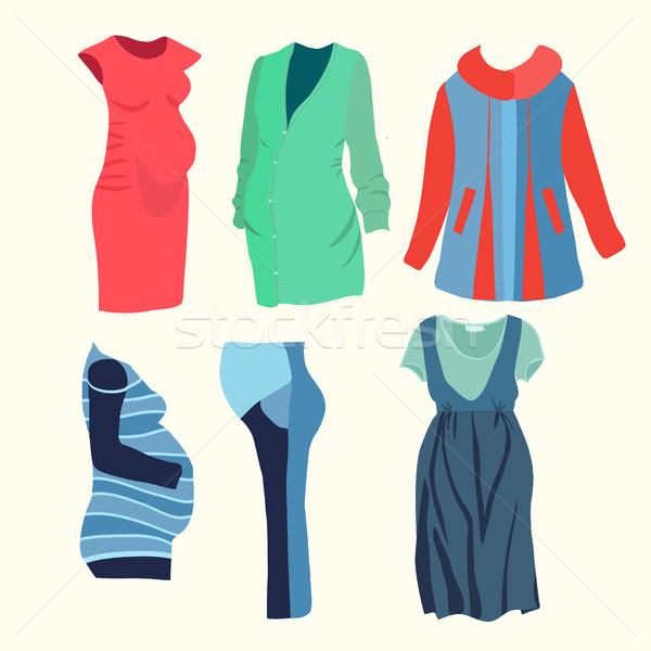 моде бутик беременная женщина посмотреть коллекция одежду Сток-фото © Margolana