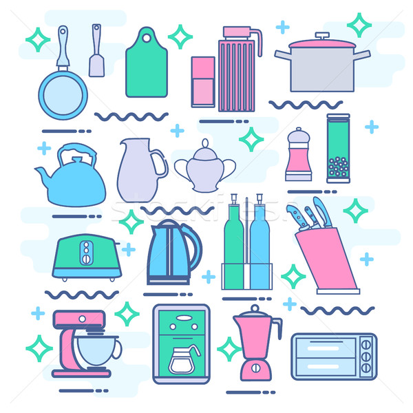 Line icons set with flat design elements of kitchen appliances Stock photo © Margolana