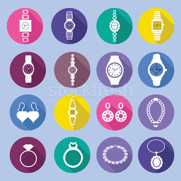 icons set with fashion watches and jewelry in flat style  Stock photo © Margolana