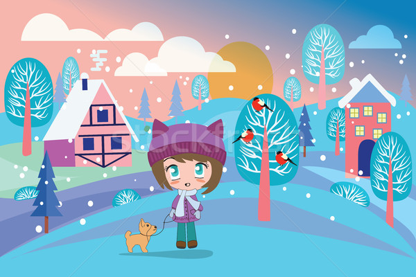 Beautiful winter landscape with pretty girl and cute dog.  Stock photo © Margolana