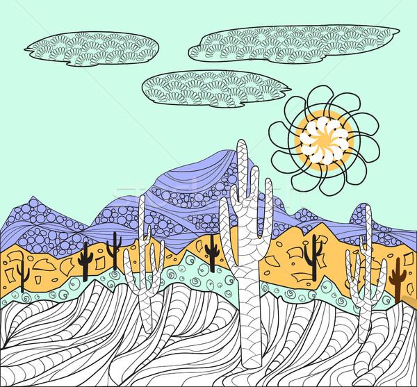 ландшафты кактус горные вектора пустыне Сток-фото © Margolana