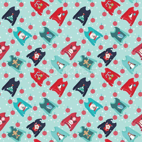 Christmas background with cute ugly christmas sweaters set swea Stock photo © Margolana