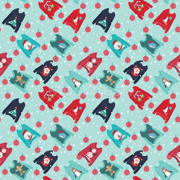 Karácsony aranyos csúnya szett pulóver buli Stock fotó © Margolana