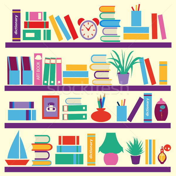 Background of  books on the Bookshelves Stock photo © Margolana