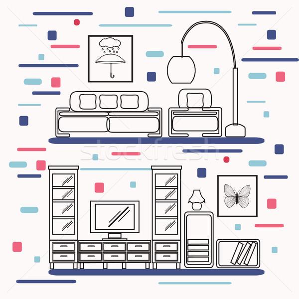 Salon meubles linéaire style vecteur confortable Photo stock © Margolana