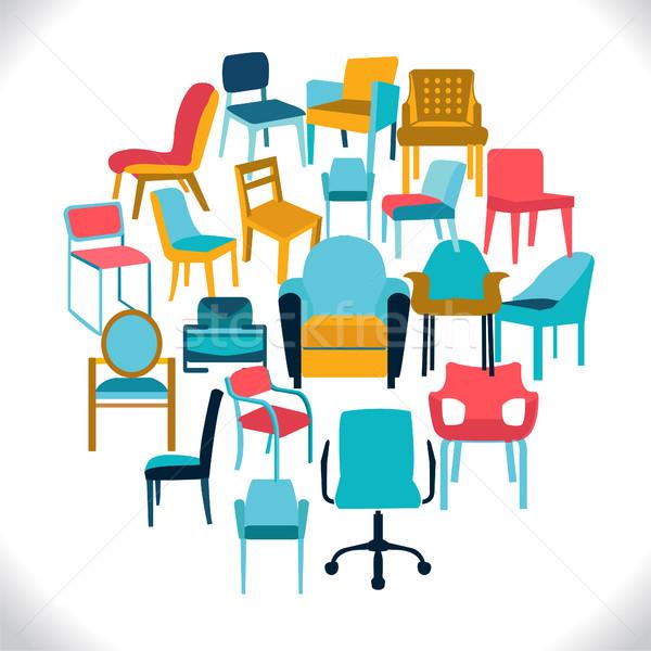 Vektör ayarlamak sandalye örnek farklı ev ofis Stok fotoğraf © Margolana