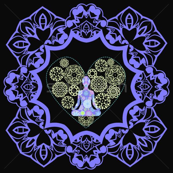 Foto stock: Ornamento · belo · lótus · posição · ioga · mandala