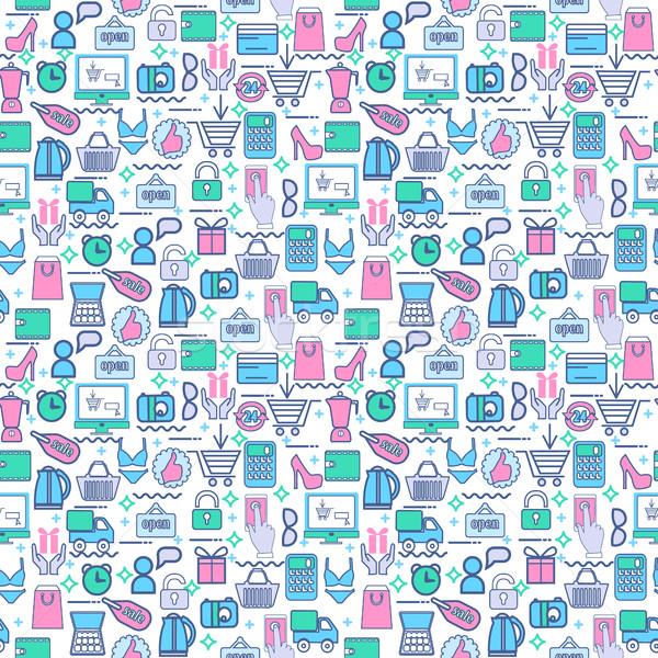b082ce28a8 #7518139 seamless vector background with colorful shopping icons. by ...