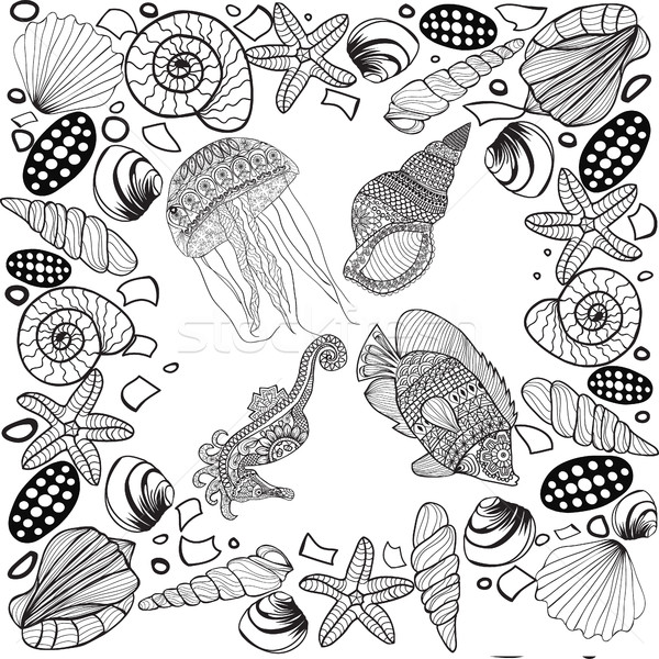 composition of tropical fish, seahorse, jellyfish, shell, underw Stock photo © Margolana