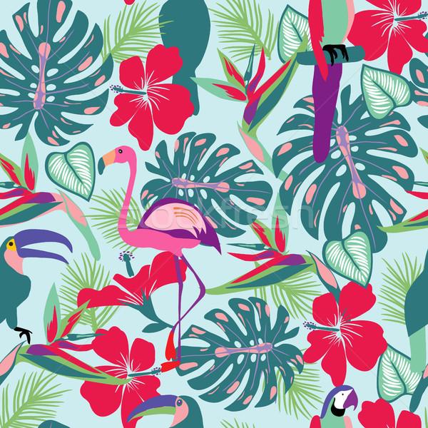 Tropikal bitkiler çiçekler papağan flamingo kuşlar Stok fotoğraf © Margolana
