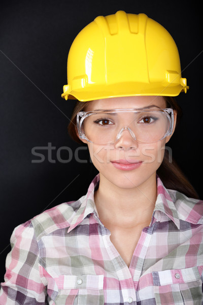 Construction worker woman with glasses and hardhat Stock photo © Maridav
