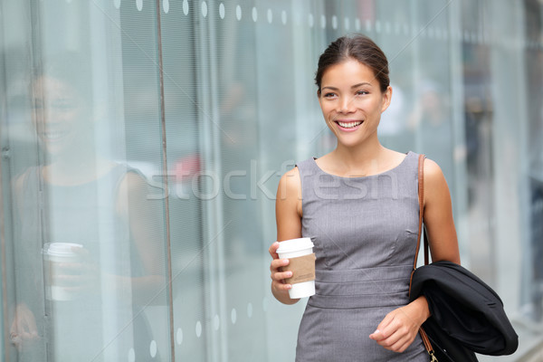 Femme d'affaires marche potable café avocat professionnels Photo stock © Maridav