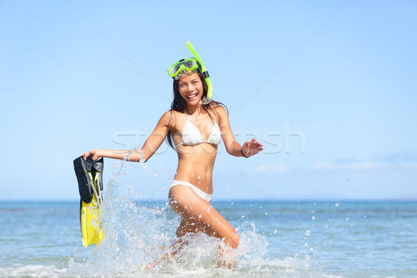 Vacation beach woman happy fun snorkeling Stock photo © Maridav
