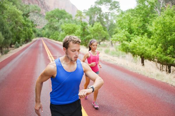 Stock fotó: Sport · pár · fut · testmozgás · óra · futók