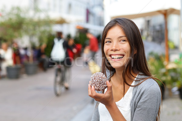Woman eating traditional danish food floedeboller Stock photo © Maridav