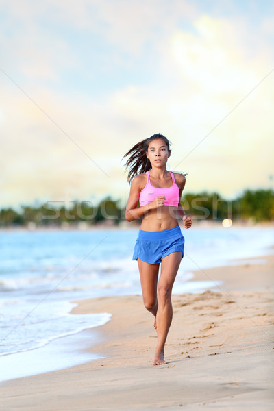 Сток-фото: женщину · Runner · бег · пляж · берега