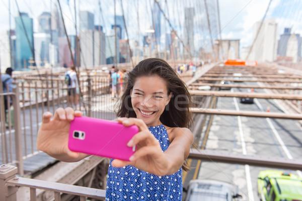 New York selfie tourist woman taking phone picture Stock photo © Maridav