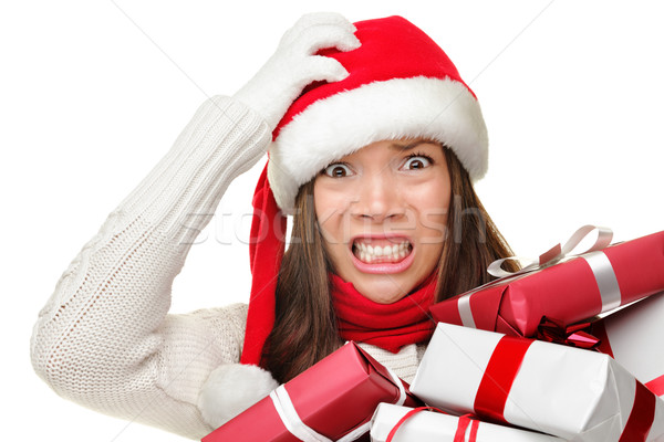 Stock photo: Christmas stress - busy santa woman