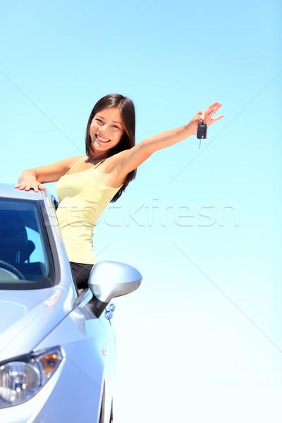 Araba kadın araba anahtarları sürücü gülen Stok fotoğraf © Maridav