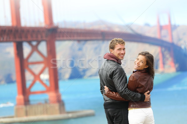 Golden Gate Bridge heureux Voyage couple San Francisco USA Photo stock © Maridav