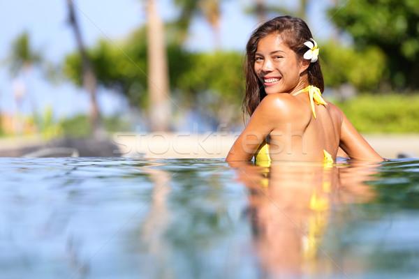 Vacation getaway woman swimming in a tropical pool Stock photo © Maridav