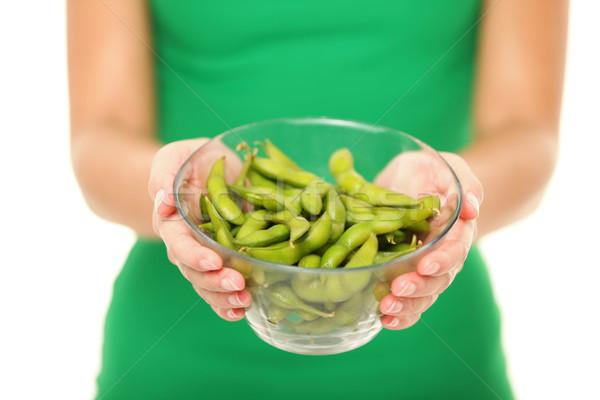 Soy beans - healthy food woman Stock photo © Maridav