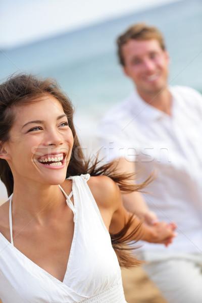 Stockfoto: Paar · strand · lachend · lifestyle · gelukkig