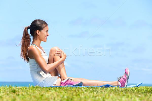 Stock fotó: Nő · nyújtás · fenék · fitnessz · testmozgás · kívül
