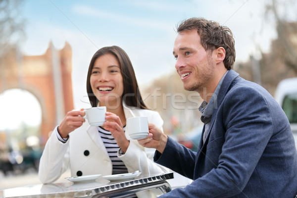 デート カップル 飲料 コーヒー カフェ バルセロナ ストックフォト © Maridav