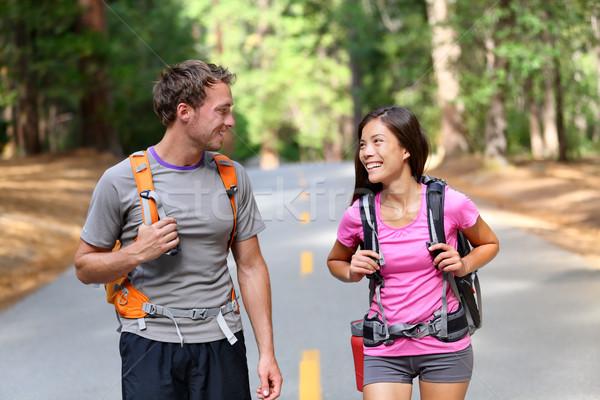 幸せ カップル ハイカー ハイキング 自然 話し ストックフォト © Maridav