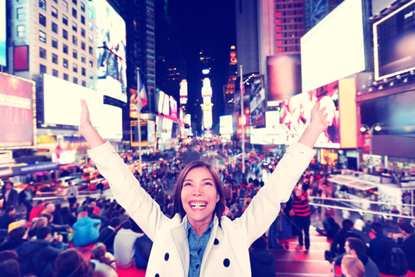 Happy fun woman in New York, Times Square Stock photo © Maridav