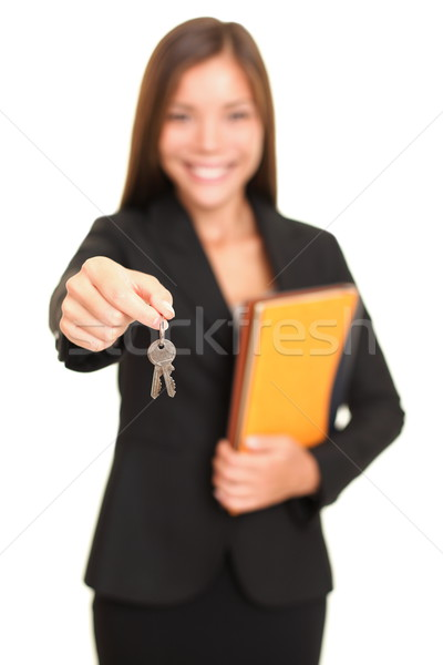 Real estate agent woman giving keys Stock photo © Maridav
